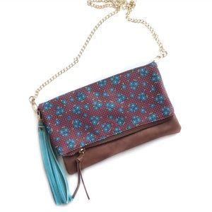 Vegan Faux Leather Floral Multi-function Flap Bag